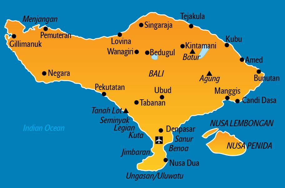 Bali Karte, Landkarte Touristen