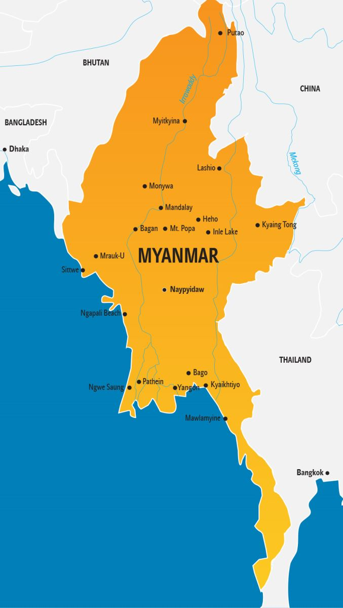 Myanmar Karte, Burma Landkarte