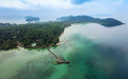 Thailand Insel Koh Mak Luftaufnahme Steg
