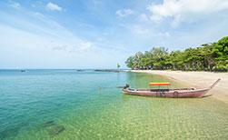 Unberührte Insel Thailand Koh Jum Strand Longtail Boot