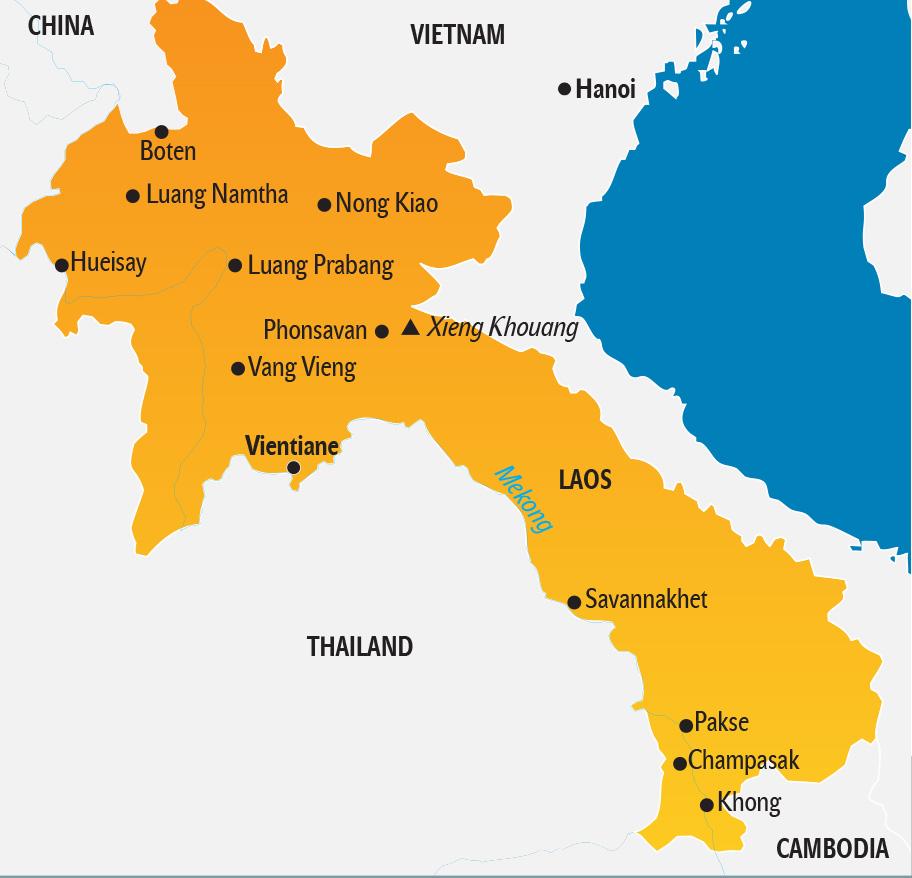 Laos Karte - Landkarte touristische Highlights