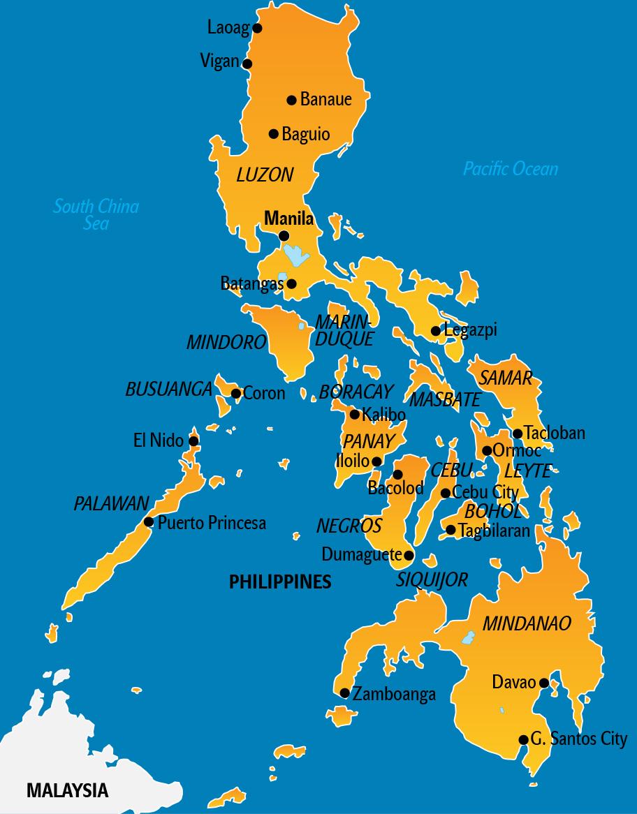 Philippinen Karte, Landkarte mit touristischen Highlights