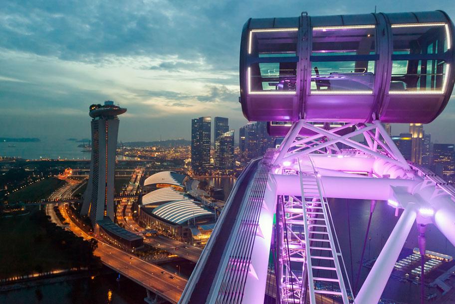 Singapore Flyer Riesenrad mit Ausblick über ganz Singapur
