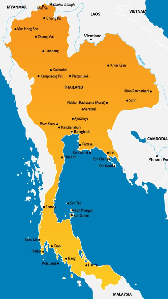 Thailand Karte, Landkarte Touristen