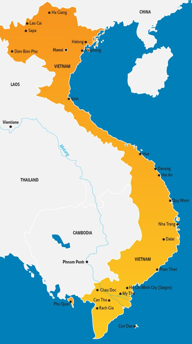 Vietnam Karte, Vietnam Landkarte für Touristen